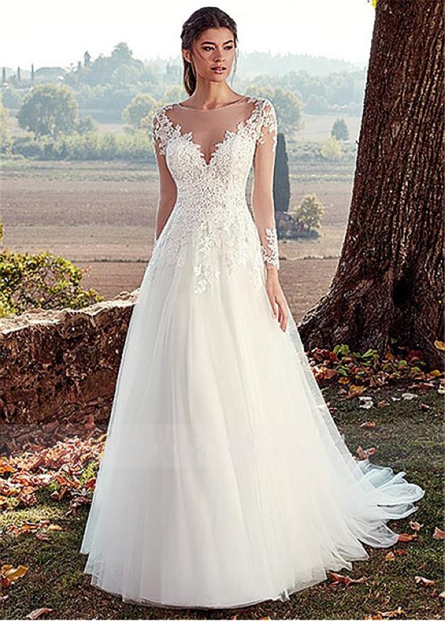 Vestido De Noiva White Ivory Tulle Wedding Dress Long Sleeves Lace Appliques Bride Dress Illusion A Line Bridal Wedding Gowns