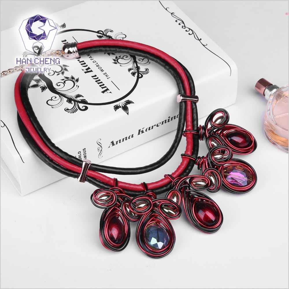 HanCheng חדש אופנה עור חבל עבודת יד חרוז נוצר קריסטל קולר שרשרת נשים שרשראות הצהרת צווארון תכשיטי bijoux