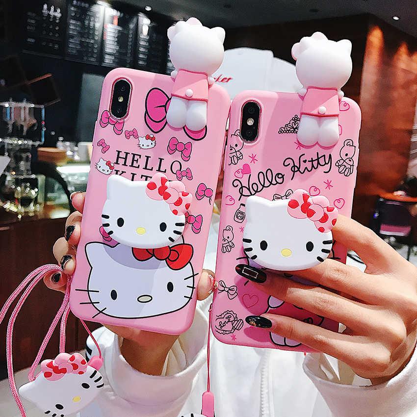 3D lindo suave Hello Kitty animales funda de teléfono de silicona con soporte de cuerda de cuello para Samsung A50 A40 A30 A20 A70 A80 A10 S10e Plus