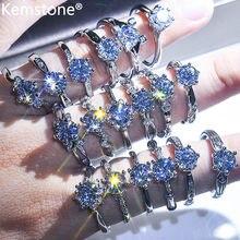 Женское регулируемое кольцо-манжета Kemstone, модное серебряное кольцо с кубическим цирконием в форме сердца, подарок для женщин