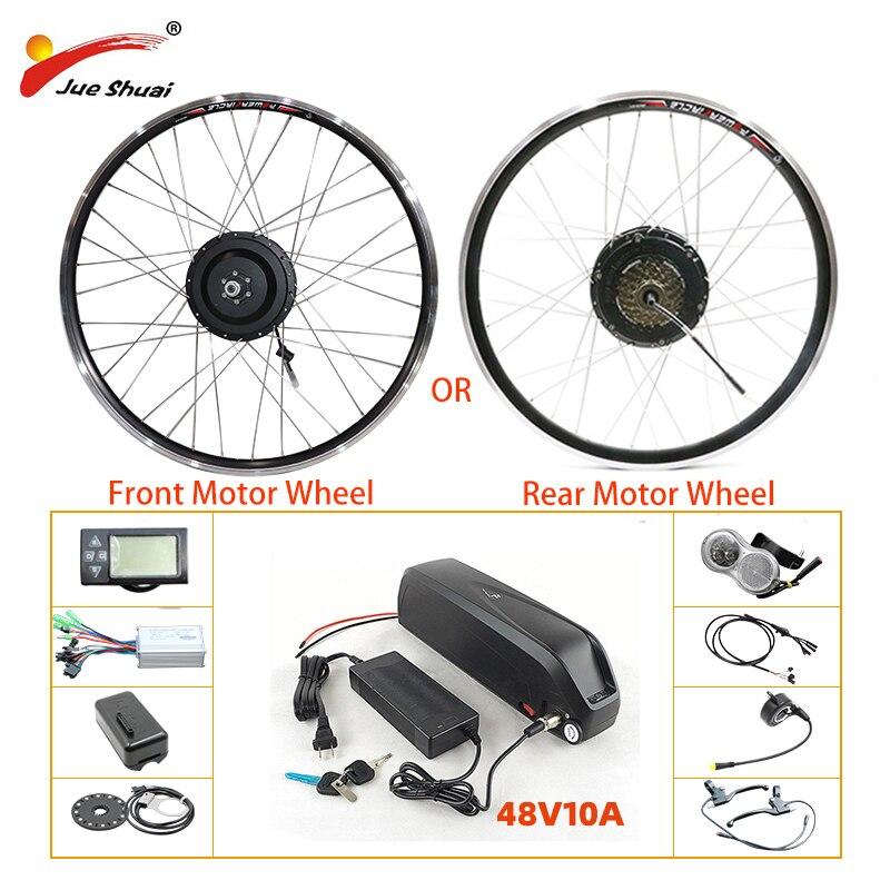 EU RU Duty Free No Tax 48V 500W Electric Bike Kit 48V10AH Lithium Battery eBike Kit Front Rear Hub Motor Wheel LCD/LED Display
