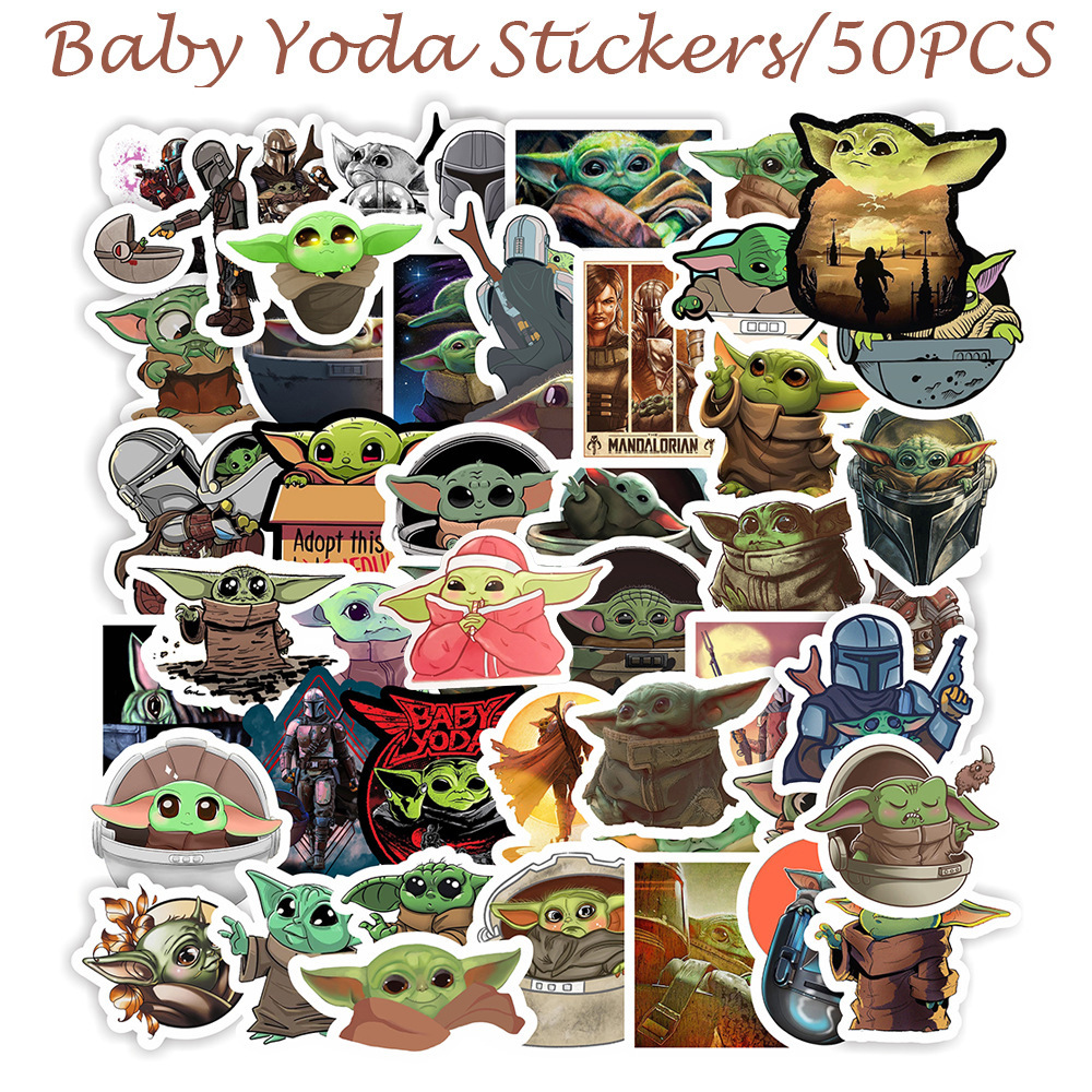 Baby Yoda Stickers 50pcs The Mandalorian Star Wars 9 Decal For Laptop Phone Case Water Bottle Car Cup Computer Wall Kids Gift