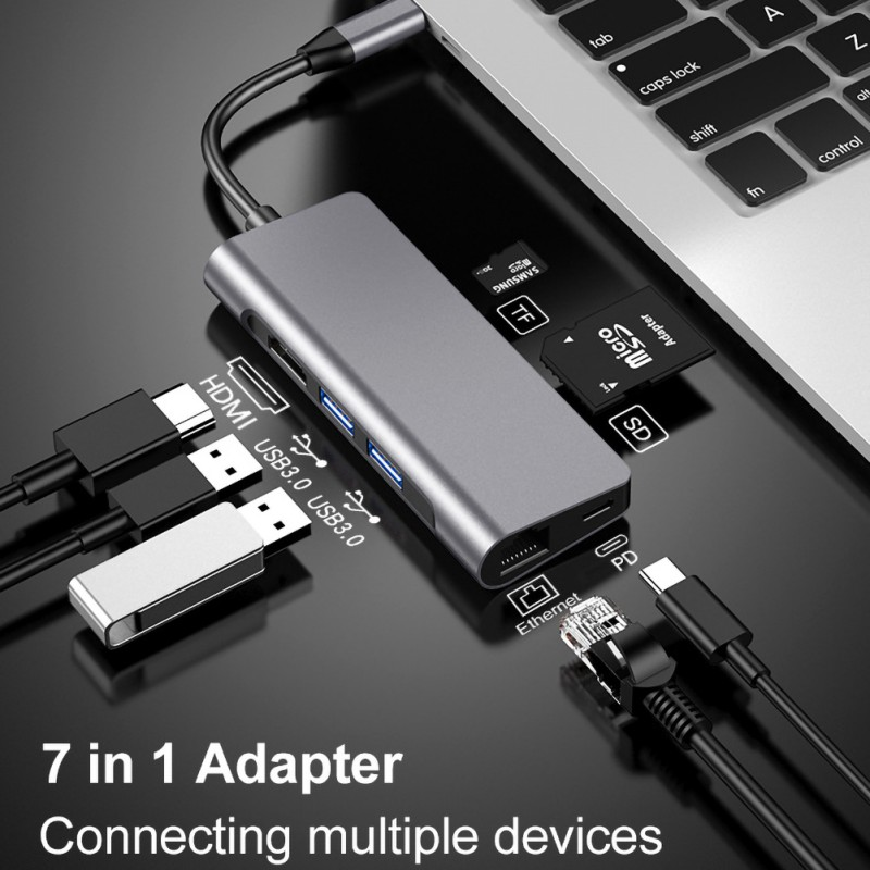 7 In 1 Multi Function USB Hub Adapter  High-quality Professional 7 In 1 Type C To HDMI HUB DP Converter Interface Adapter