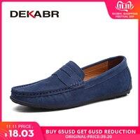 Мужские брендовые мокасины на весну-лето DEKABR, темно-синие туфли из натуральной кожи, легкая обувь на плоской подошве для вождения, 2019