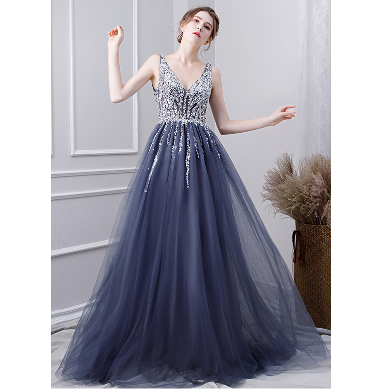 Luxury Beads Evening Dresses 2019 Long  A Line Sleeveless V Neck Backless Formal Occasion Party Prom Women Dresses