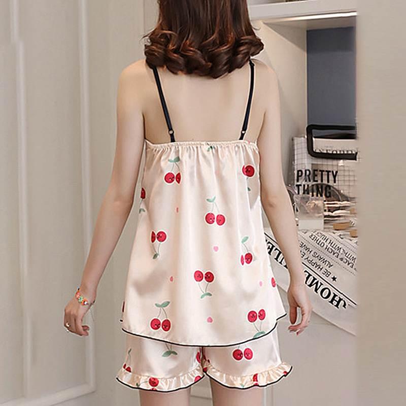 Image 5 - 2020 Women Summer Sleepwear Pajama Top Shorts Sets Printed Sexy Sleeveless Strap Casual Silk Satin Nightwear Sleepwear Set FemmePajama Sets   -