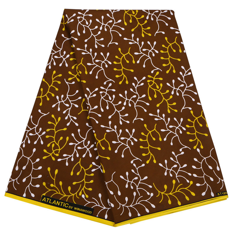Double African Wax Polyester Wax Fabric 100% Polyester Wax Prints For Party Wholesale 6 Yards Brown African Ankara Wax Fabric