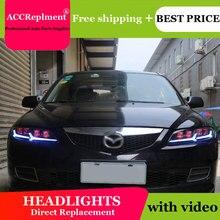 Dành Cho Xe Mazda 6 2003 2008 Đèn Pha Tất Cả Các Đèn Pha LED DRL Năng Động Tín Hiệu Giấu Đầu Đèn Bi Xenon Tia Phụ Kiện kiểu Dáng Xe