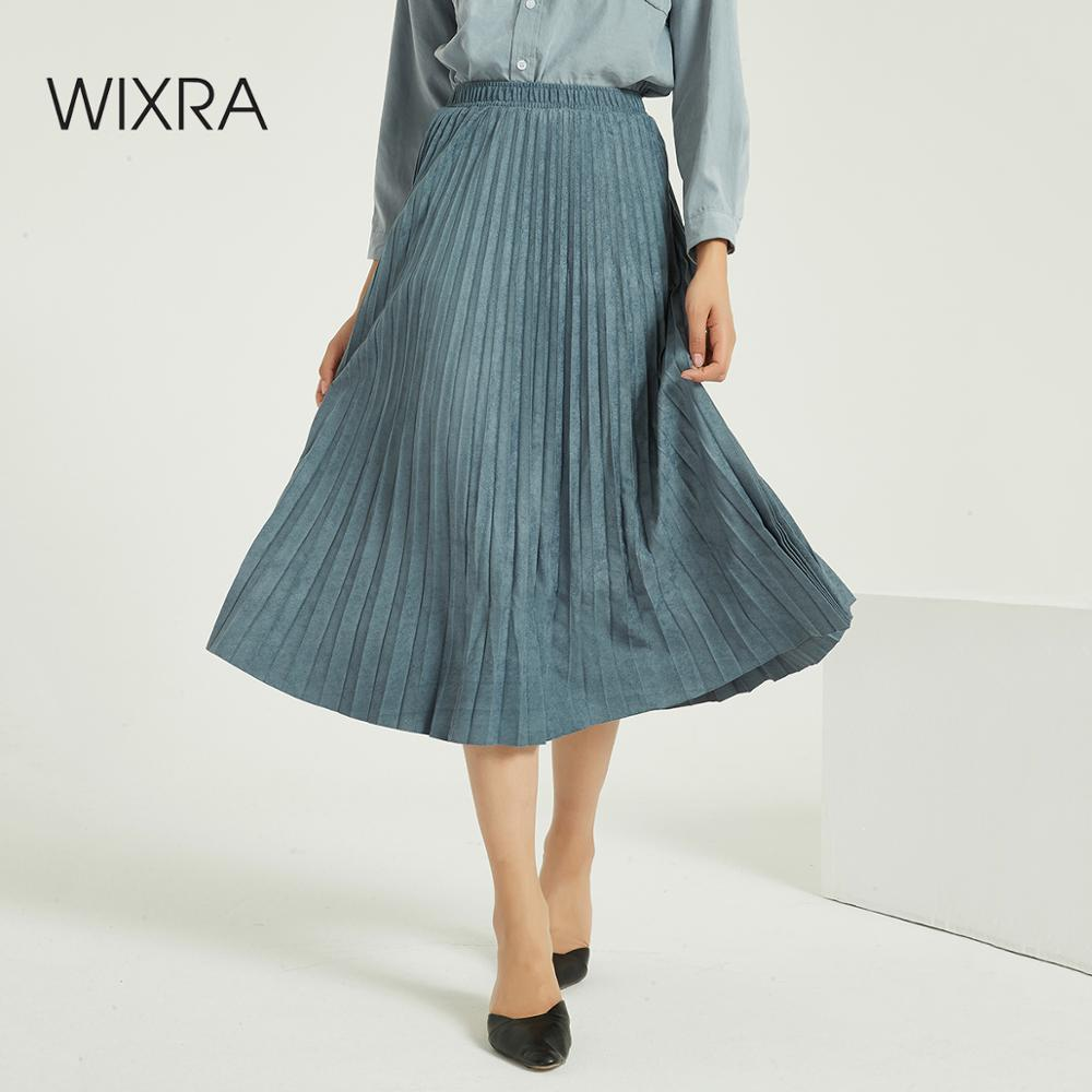 Wixra Women Suede Pleated Skirts Classic Casual Thick Mid-Calf Skirt Streetwear Ladies Bottom Four Seasons