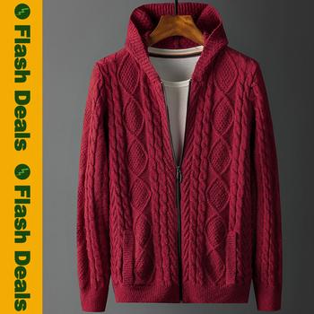 Wysokiej jakości sweter z kapturem płaszcz męski sweter męski sweter męski Twisted Winter Cotton gruby sweter męski sweter na zamek błyskawiczny tanie i dobre opinie MuLS CHINA Pojedyncze piersi Grubej wełny HS2245 Argyle Skręcić w dół kołnierz Anglia styl Kieszenie Mieszkanie dzianiny