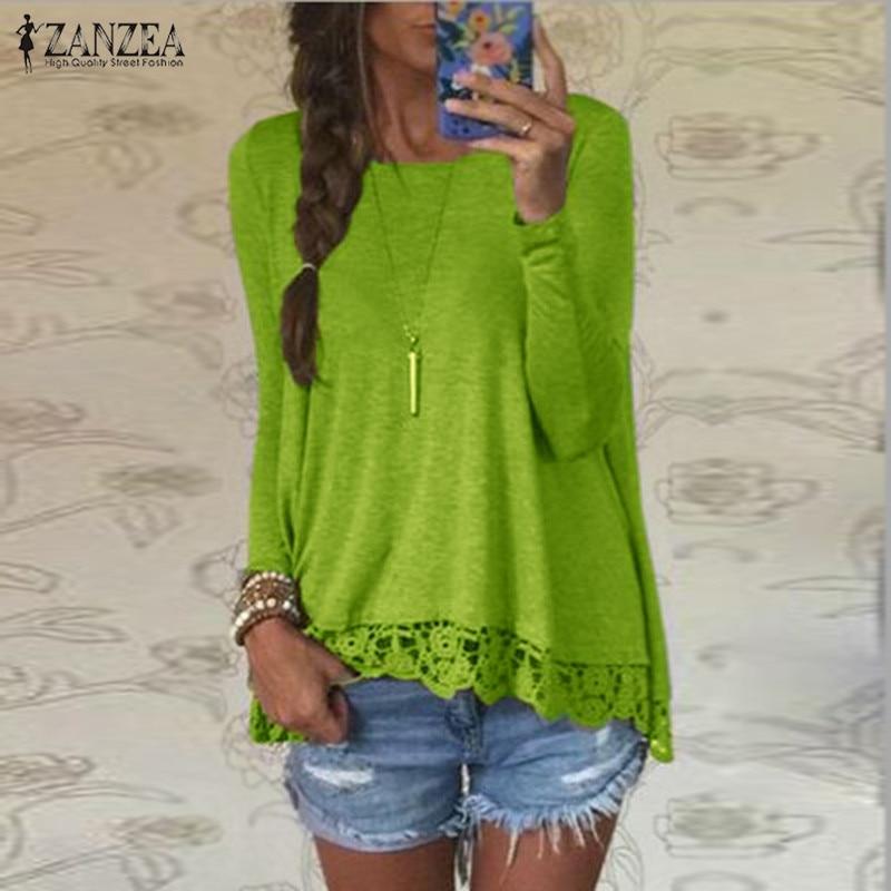 ZANZEA 2020 Women's Lace Crochet Blouse Fashion Asymmetrical Tops Casual Long Sleeve Shirts Female Stiching Blusas Plus Size 8