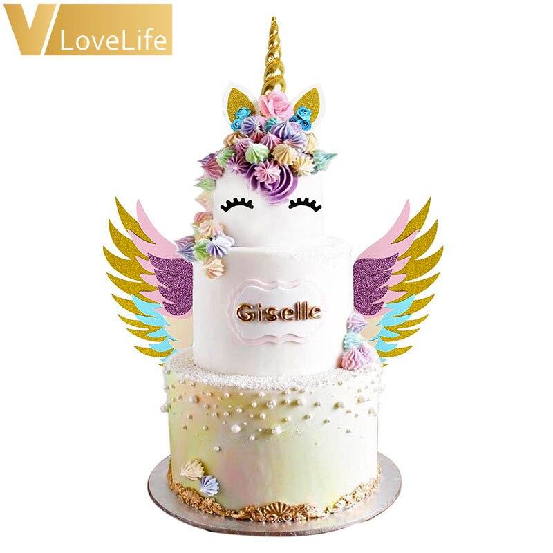 Unicórnio bolo cupcake topper terno unicornio chifre orelhas asas festa de aniversário decorações do bolo suprimentos chá de fraldas decoração ferramentas