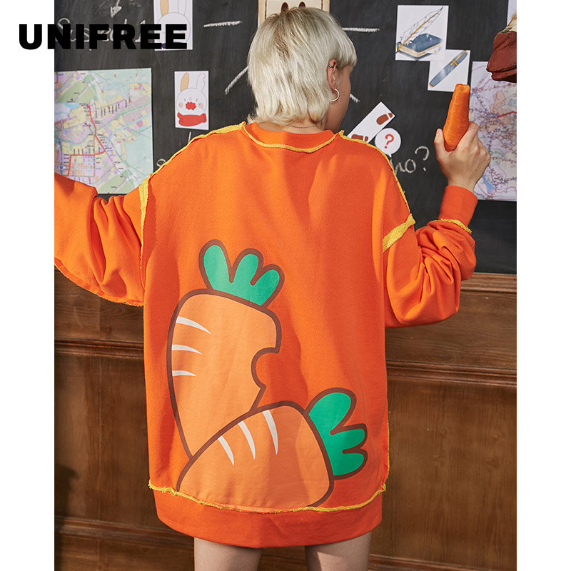Unifree Bodysuit 2019 New Women's Loose Korean Fashion Spring And Autumn Thin Lazy Long Sleeve Lovely Print U193A619DT