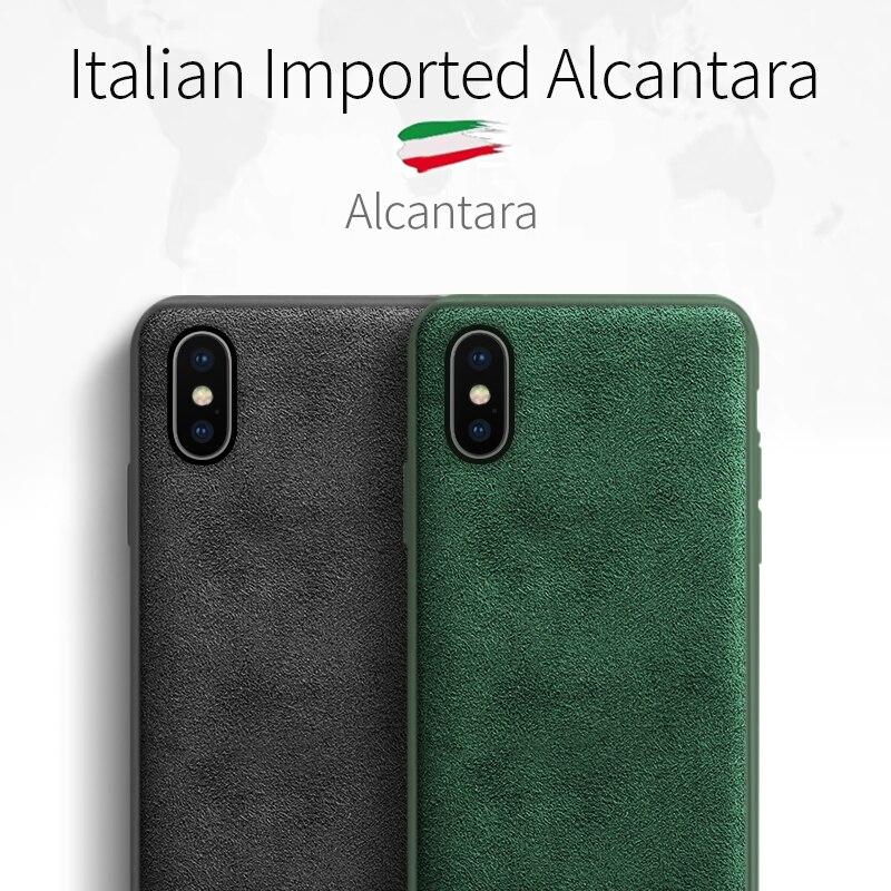 Sancore caso de telefone para o iphone x xs xr max caso alcantara couro moda negócio tpu telefone saco de luxo celular capa traseira homem