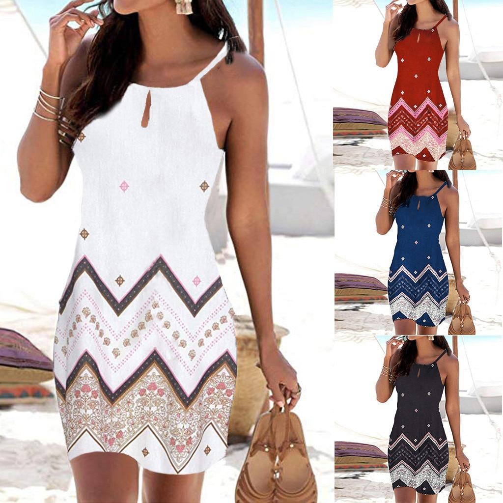 Women Halter Neck Boho Print Dress Sleeveless Mini Beachwear Sundress Plus Size Mini Dress Ropa De Invierno Para Mujer 2019 W7.4