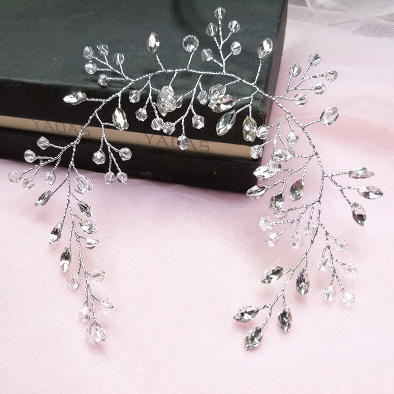 Tiara-Ornaments Headband Hair-Combs Bride-Hair-Band Wedding-Bridal White for Crytal