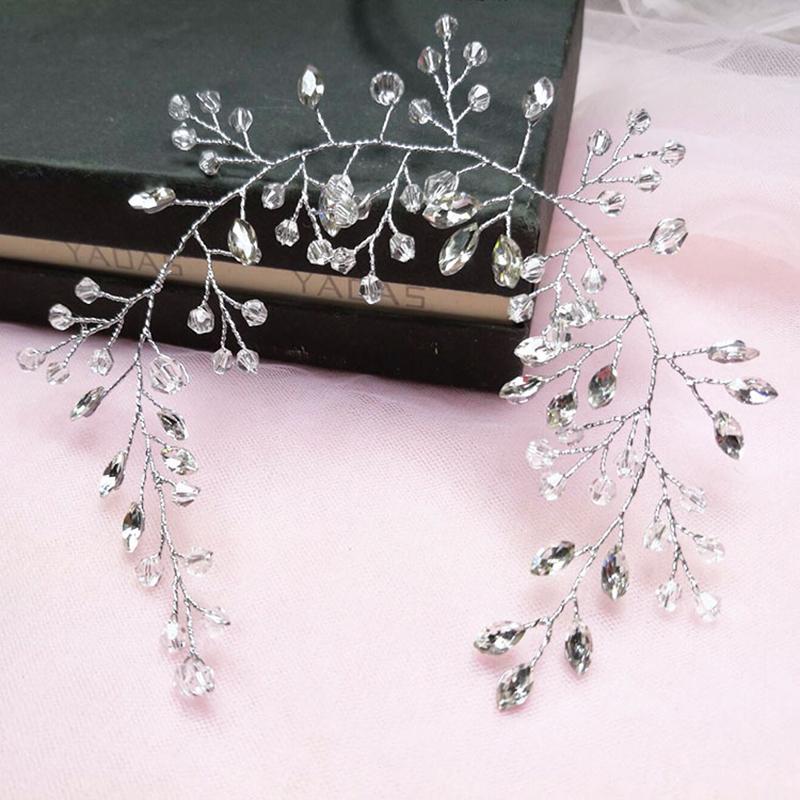 Bride Hair Band White Crytal Headband Wedding Bridal Hair Accessories Tiara Ornaments Wedding Headbands For Bride Hair Combs