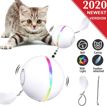 Smart Cat Toys USB Electric Pet Toys Magic Roller Ball Cat LED Rolling Flash Ball Automatic Rotating Toy For Cat Dog Kids