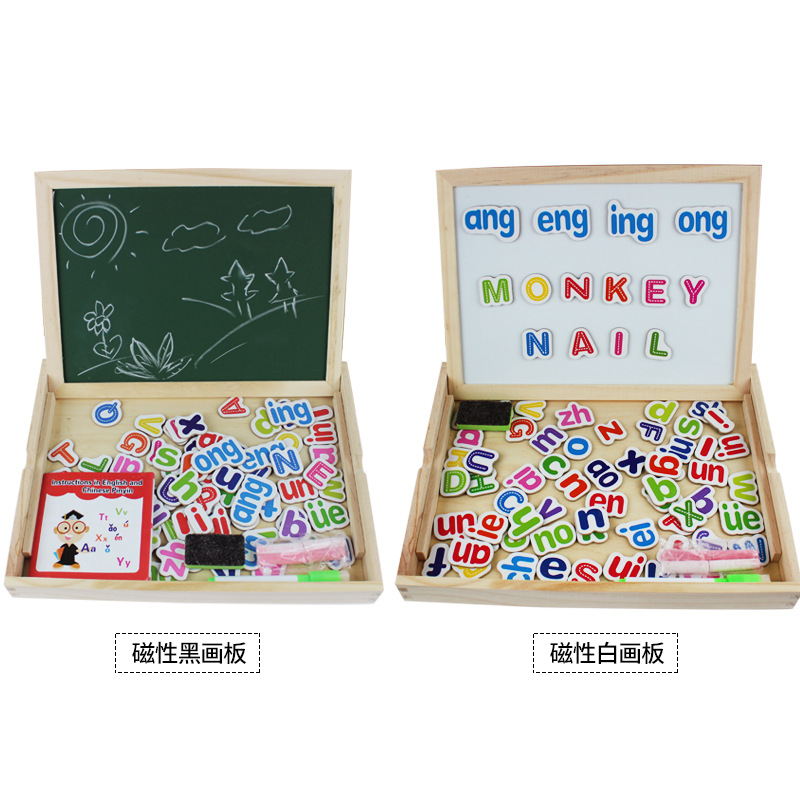 Double-Sided Magnetic Joypin Sketchpad Children Early Education Wooden Toys Lettered Sided Magnetic Drawing Board