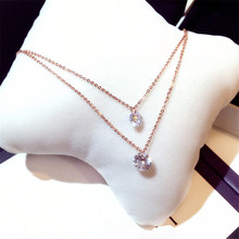 Fashion Jewellery White Gold Double Zircon Pendant Necklaces Female Summer Short Necklace Layers Design