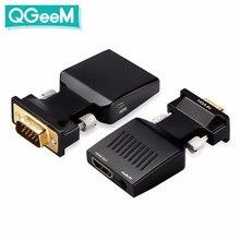 QGeeM konwerter VGA na HDMI z dźwiękiem Full HD VGA do adapter HDMI z wyjściem wideo 1080P HD dla PC Laptop HDMI toVGA