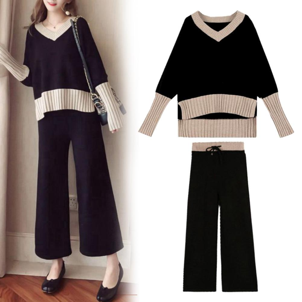 Fashion 2Pcs Women Casual V Neck Pullover Top Wide Leg Pants Sportswear Knitted Tracksuit