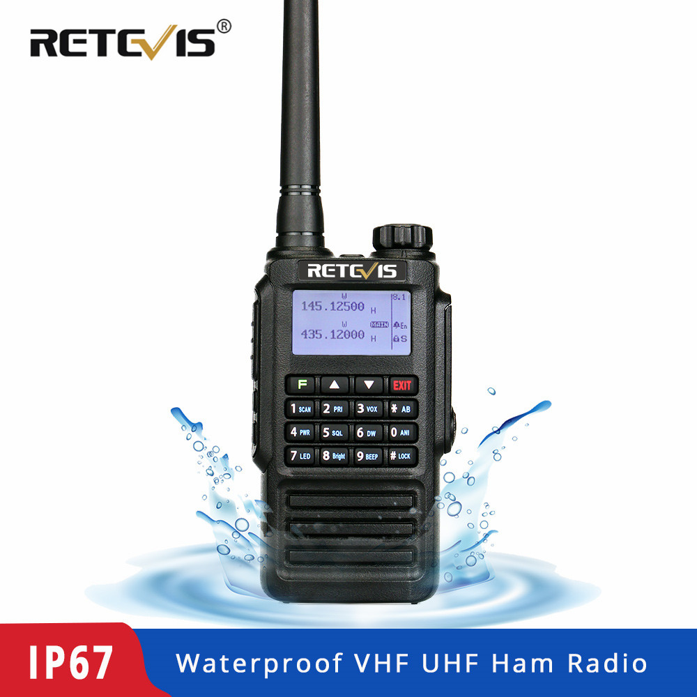 Retevis RT87 Professional IP67 Waterproof Walkie Talkie 5W 128CH VHF UHF Dual Band Scrambler VOX FM Two Way Radio Walkie Talkie-in Walkie Talkie from Cellphones & Telecommunications