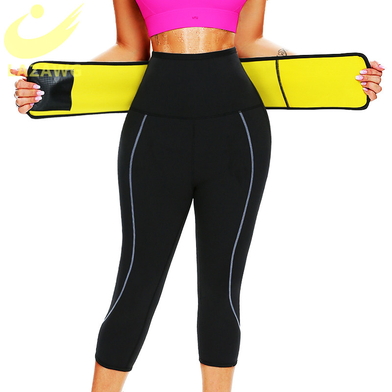 LAZAWG Sauna Sweat Pant Capris Fat Control Legging with Waist Trainer Belt Hot Sweat Pants Weight Loss Hot Thermo Body Shaper