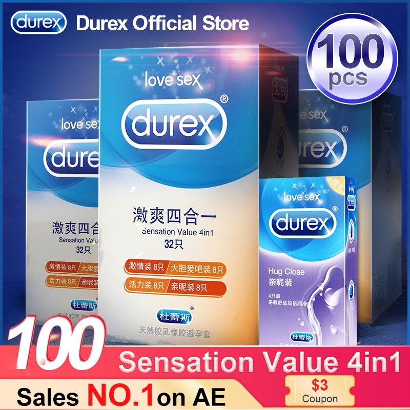 Durex ถุงยางอนามัย 4 ประเภท Ultra Thin Cock Condom Intimate สินค้าผลิตภัณฑ์ยางธรรมชาติ Penis Sleeve Sex สำหรับชาย
