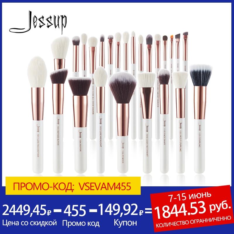 Jessup Makeup brushes set 6 25pcs Pearl White / Rose Gold Professional Make up brush Natural hair Foundation Powder Blushes Eye Shadow Applicator  - AliExpress