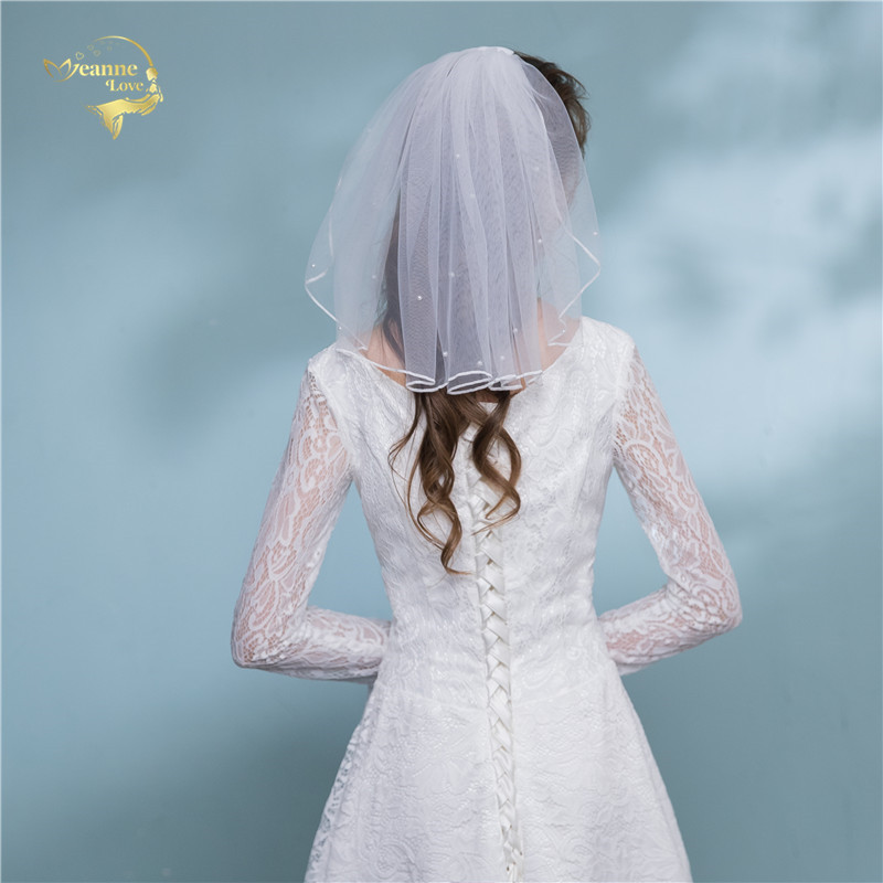 Ivory White Wedding Veils Shoulder Length Pearls Short With Comb Bridal Veil