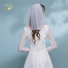 Gather Short Bridal Veils Shoulder Length For Womens Pearls Adult Vintage Wedding White Ivory voile de mariee
