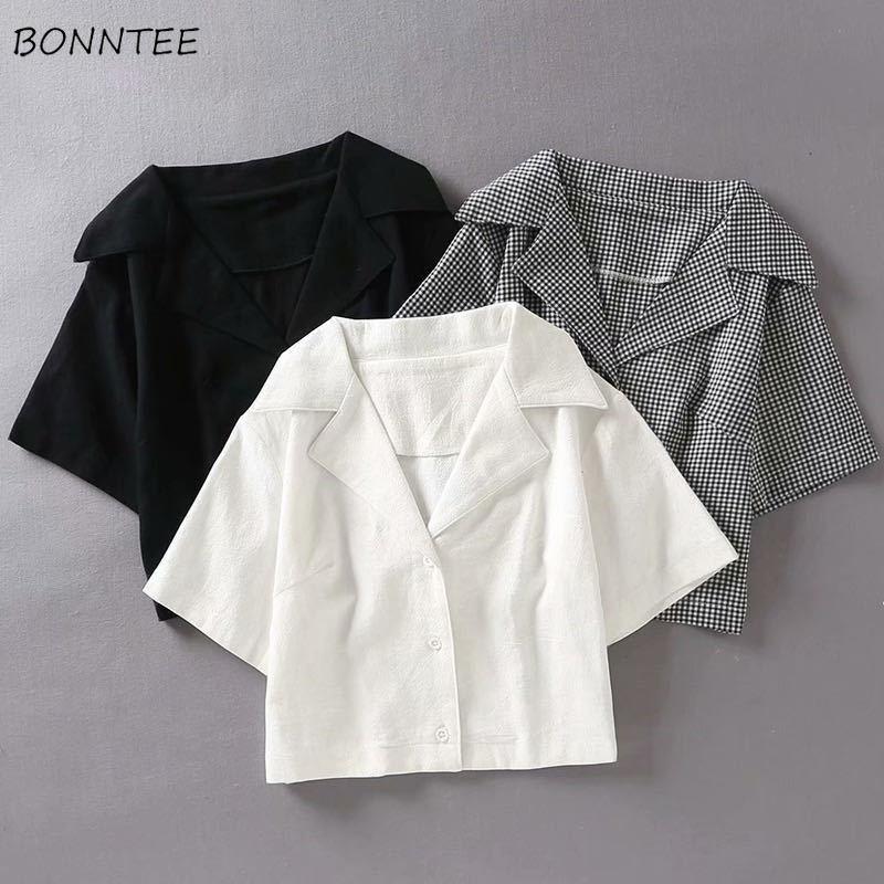 Camisetas sencillas de manga corta para mujer, camisas ajustadas y minimalistas para adolescentes, estilo coreano
