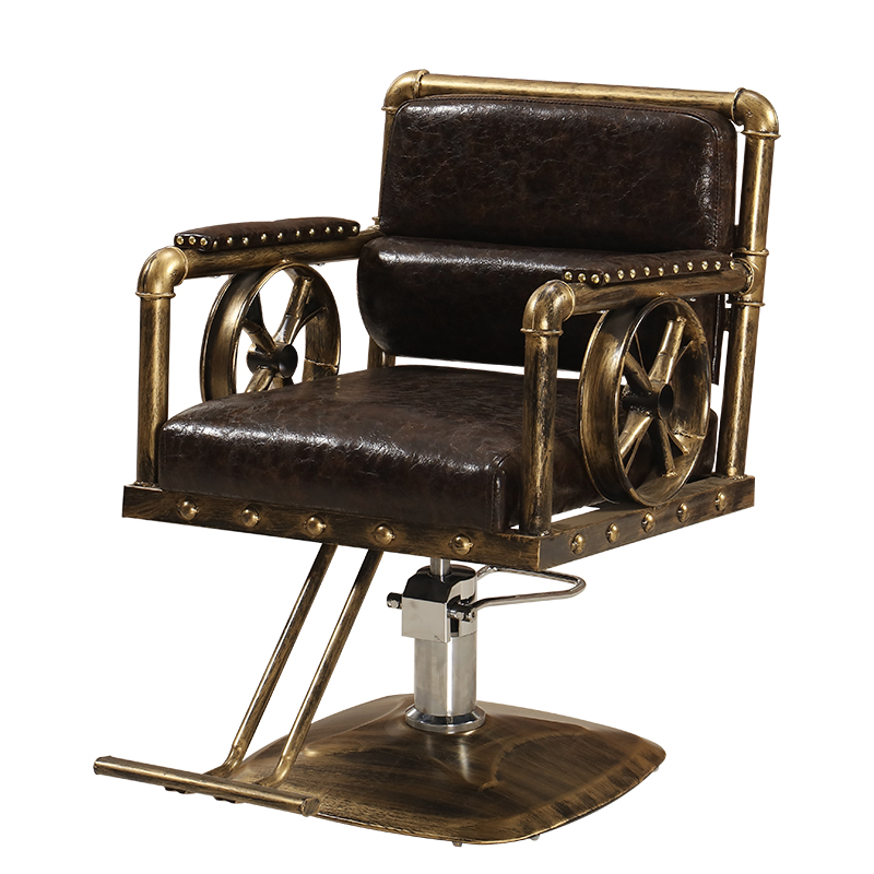 Retro Barber Chair Barber Shop Chair Salon Dyeing Chair Hair Clipper Hair Salon Solid Wood Hydraulic Seat