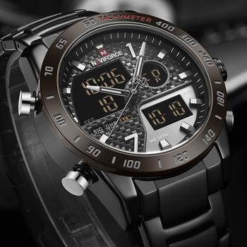 NAVIFORCE zegarki męskie moda analogowy LED cyfrowy kwarcowy zegarek z podwójnym wyświetlaczem moda męska Sport chronograf zegarek wodoodporny tanie i dobre opinie 24cm Podwójny Wyświetlacz 3Bar Składane zapięcie z bezpieczeństwem Stop 17 5mm Hardlex Kwarcowe Zegarki Na Rękę Nie pakiet