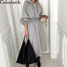 Colorfaith yeni 2020 sonbahar kış kadın elbiseler yüksek bel boy kapşonlu Minimalist zarif vahşi sıcak bayan uzun elbise DR3033
