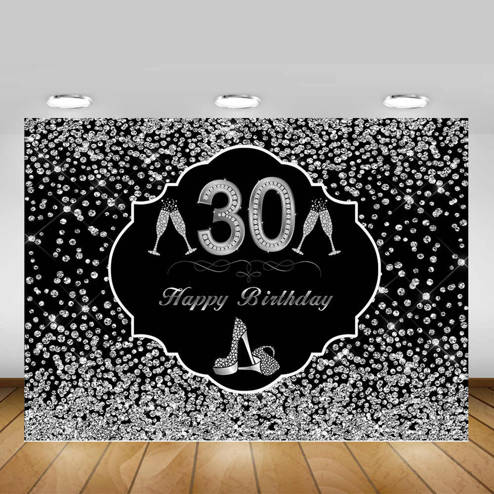30th Selamat Ulang Tahun Latar Belakang Photocall Wanita 50th 60th Ulang Tahun Pesta Latar Belakang Dekorasi Sliver Splash Titik Fotografi