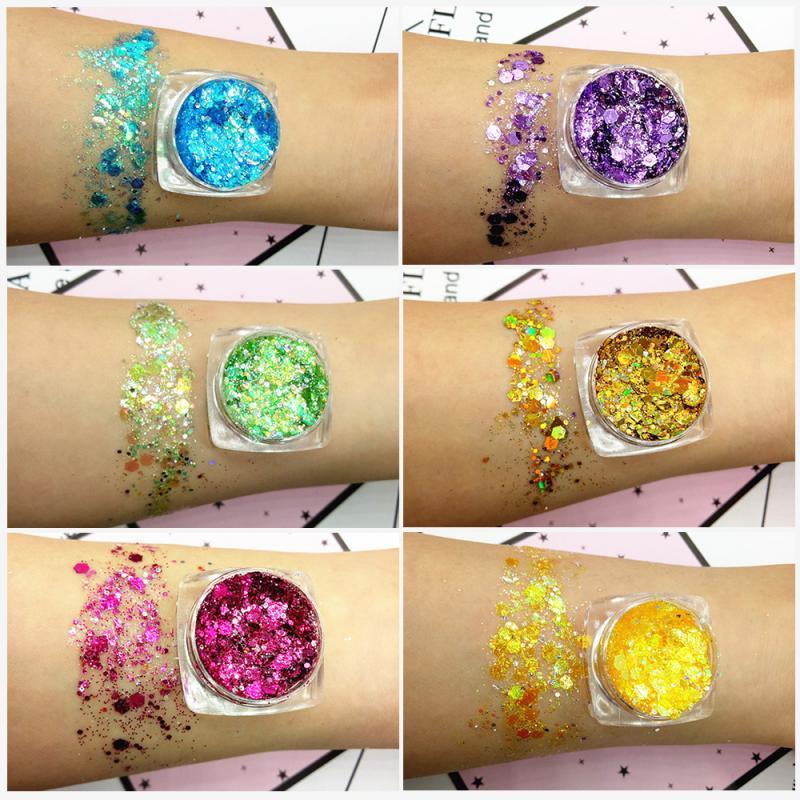 Jelly Face Glitter Gel 19 Colors Mermaid Sequins Glitter Eye Shadow Makeup Cosmetics Maquiagem Makeup Palette Flash Drill TSLM2
