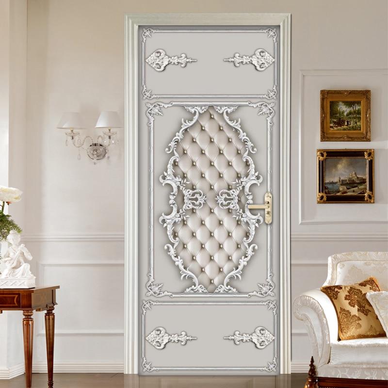 European Style 3D Soft Case Pattern Door Sticker PVC Waterproof Self-adhesive Mural Wallpaper For Living Room Bedroom Home Decor