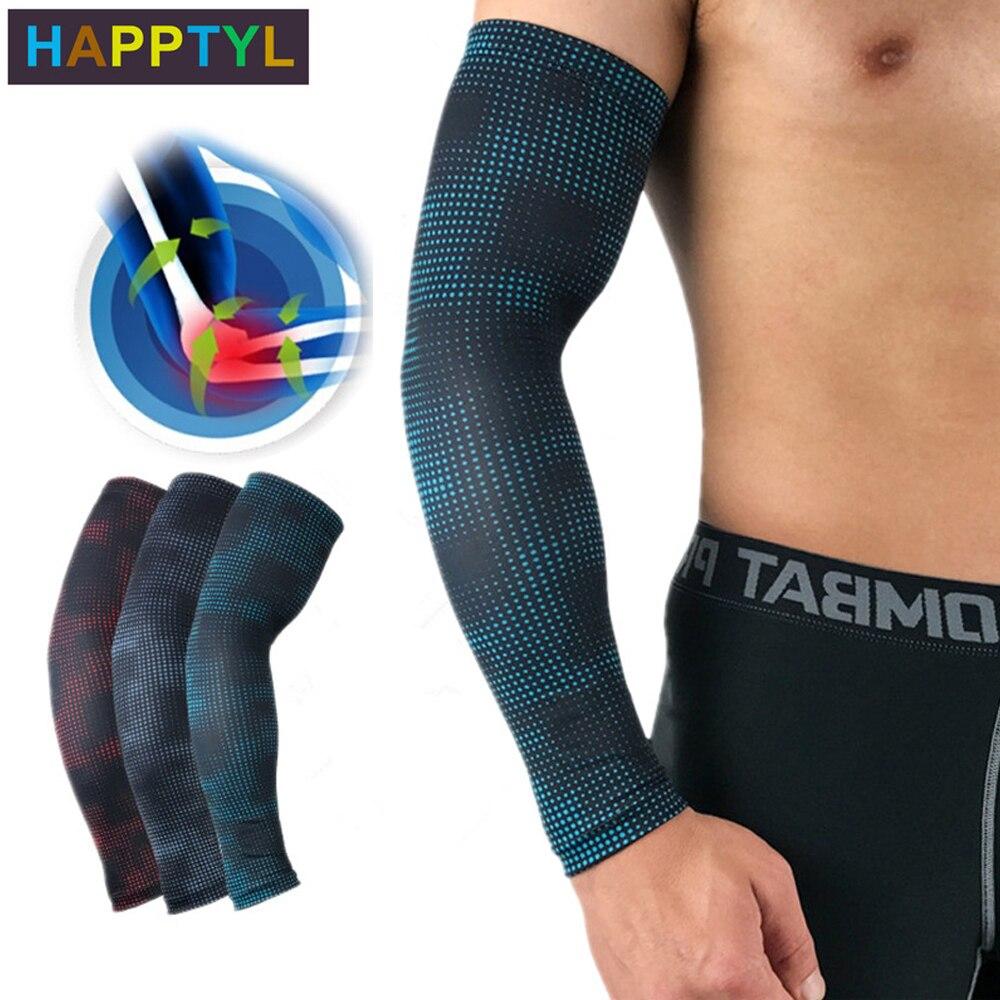 Happtyl 1 pçs braço de compressão esportes refrigeração proteção solar mangas braço compressão para beisebol basquete golfe tênis corrida