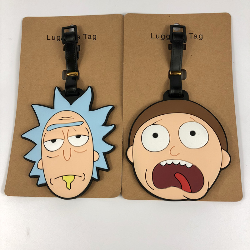 Rick Morty Travel Accessories Luggage Tag Cartoon Silica Gel Suitcase ID Address Holder Baggage Boarding Portable Label