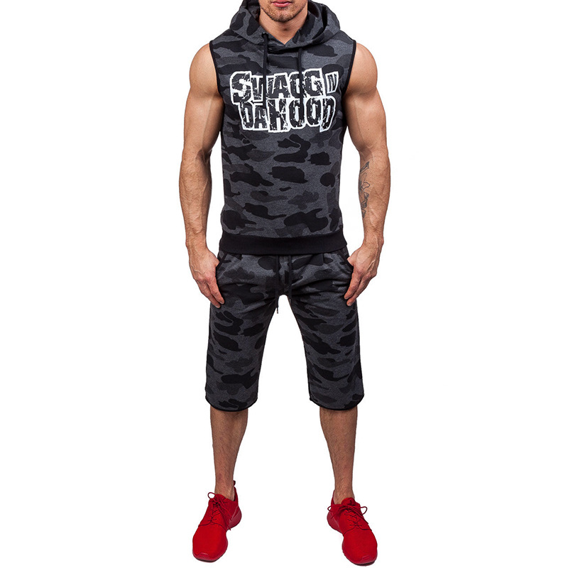 Summer New Style Men Hooded Sleeveless Pullover Printed Hoodie Europe And America Large Size Men's Thin Camouflage Sports Set