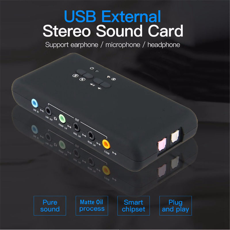 Купить с кэшбэком 7.1 Sound Card Usb 2.0 Sound Card Cmi6206 Chipset Usb Usb Audio Device Class Spec1.0 And Usb Hid Class Spec 8 Channel Dac Output