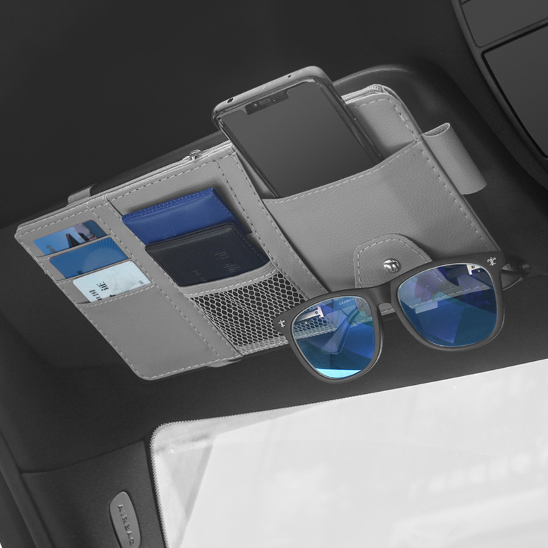 Car Sun Visor Organizer Bill Pen Card Holder CD DVD Organizer Storage Box Sunglasses Clip Stowing Tidying Car Accessories