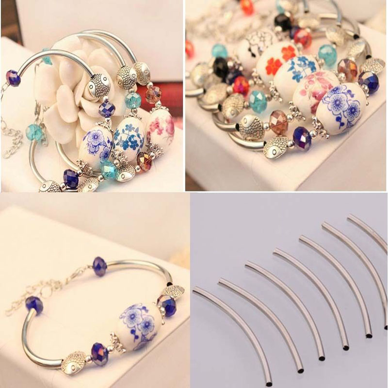 100Pcs Alloy Metal Gold Silver Curved Tube Beads Spacer Connector Long Tube Charm For Jewelry Making DIY Bracelets Accessories