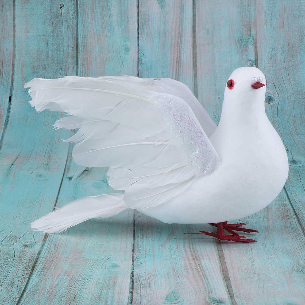 Realistic Feathered Craft Birds Doves Statue Garden Sculpture Wedding Decoration