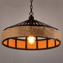 Retro Industrial Lamp Vintage Hemp Rope Chandelier Base Loft Iron Bedroom Dining Room Cafe Bar Light Retaurant Lamps