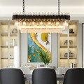 Современная хрустальная люстра для столовой  Роскошный кухонный остров  подвесные светильники  черный светодиодный светильник  люстры