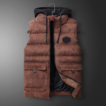 Plus Size 2019 New Vest Men Autumn Winter Warm Fashion Warm Vest 5XL 6XL Thicken Waistcoat Hooded Zipper Solid Sleeveless Jacket(China)