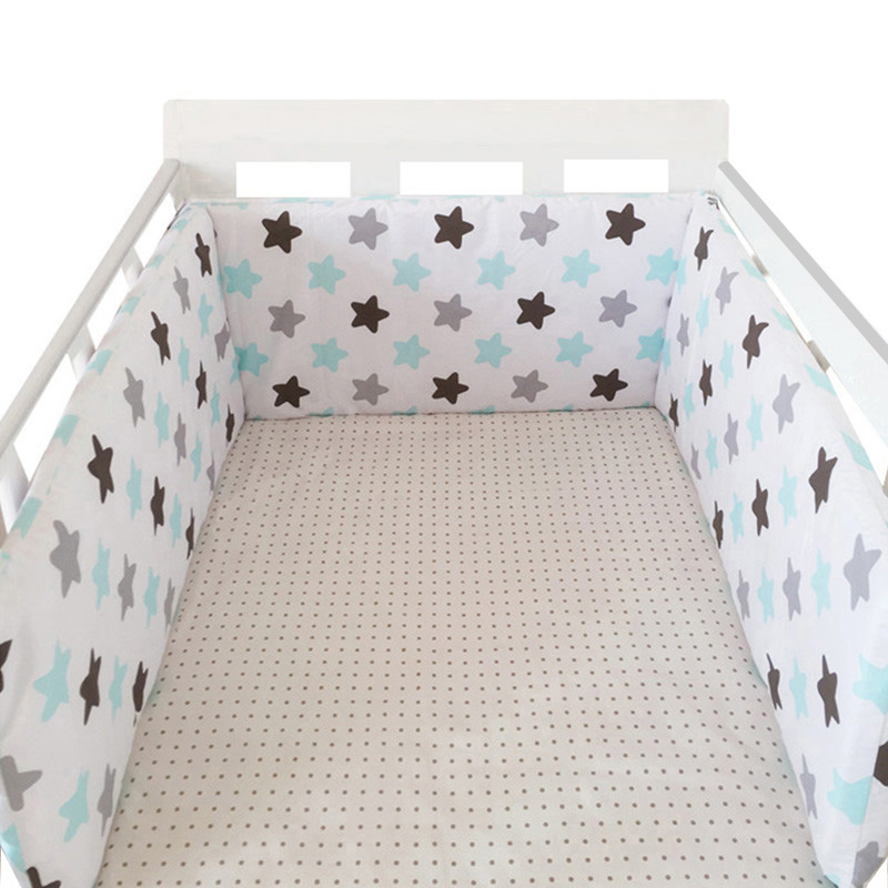 Nordic Stars Design Baby Bed Thicken Bumpers One-piece Crib Around Cushion Cot Protector Pillows Newborns Room Decor(China)